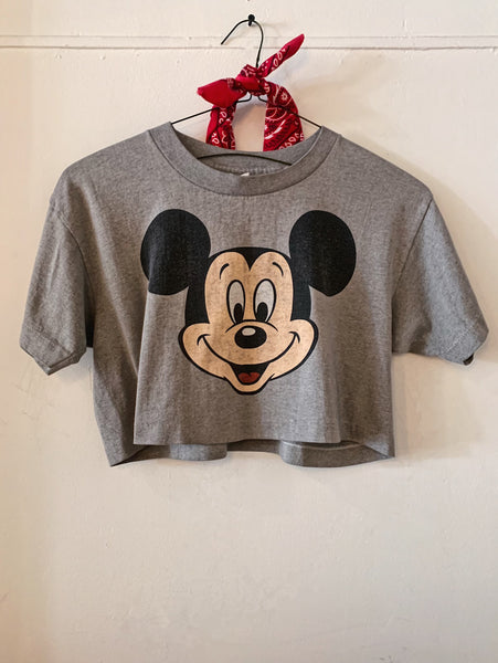 Vintage Cropped Grey Mickey Tee