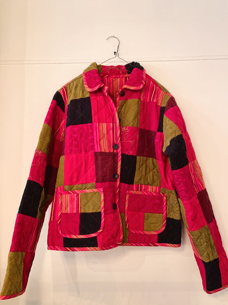 Vintage Patchwork Corduroy Jacket - Red