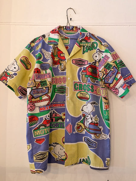 "Vintage Snoopy ""Race Car Driver"" Camp Shirt"