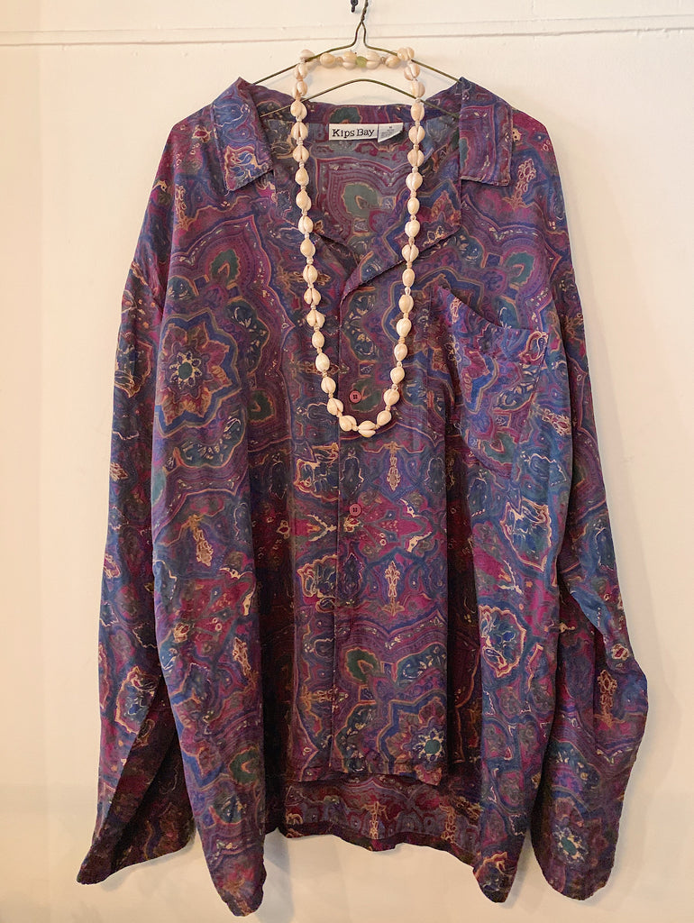 Vintage Silk Burgundy Paisley Long Sleeve Shirt