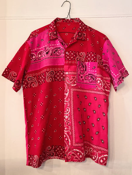 Patchwork Short Sleeve Bandana Shirt - 004 - Red/Pink