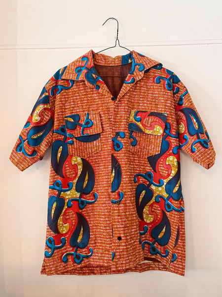 Vintage Short Sleeve Red African Print Shirt