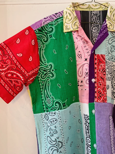 Patchwork Short Sleeve Bandana Shirt - 007
