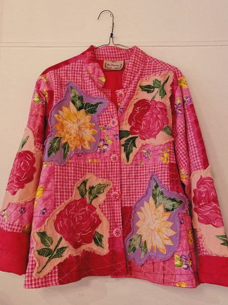 Vintage Floral/Plaid Patchwork Jacket