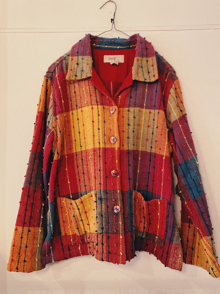 Vintage Textured Large Plaid Jacket