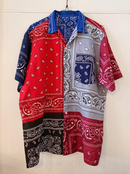 Patchwork Short Sleeve Bandana Shirt - 003