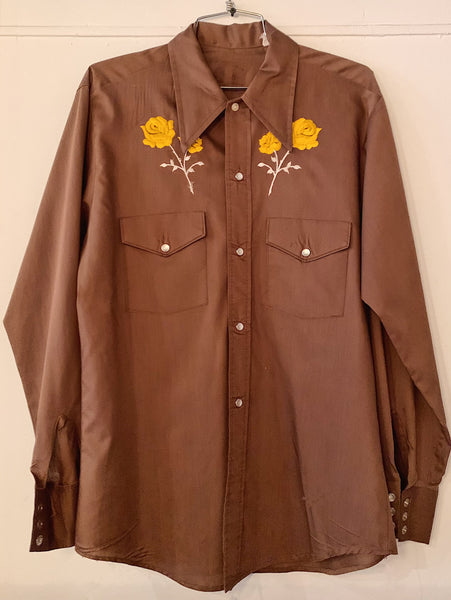 Vintage Embroidered Yellow Roses Brown Western Shirt
