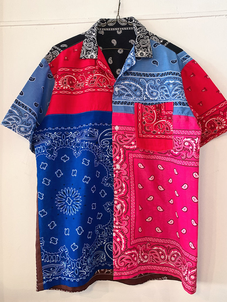 Patchwork Short Sleeve Bandana Shirt - 009