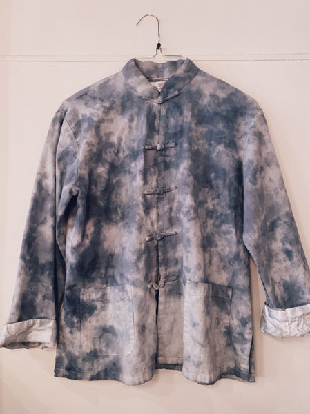 Vintage Tie Dyed Frog Botton shirt - Blue
