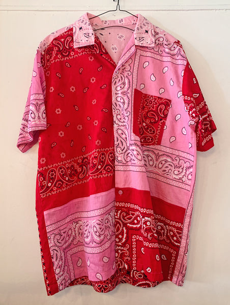 Patchwork Short Sleeve Bandana Shirt - 008 - Red/Pink