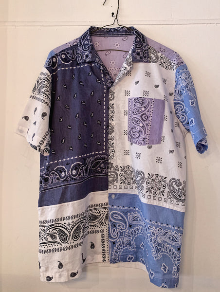 Patchwork Short Sleeve Bandana Shirt - 006 - Blue mix