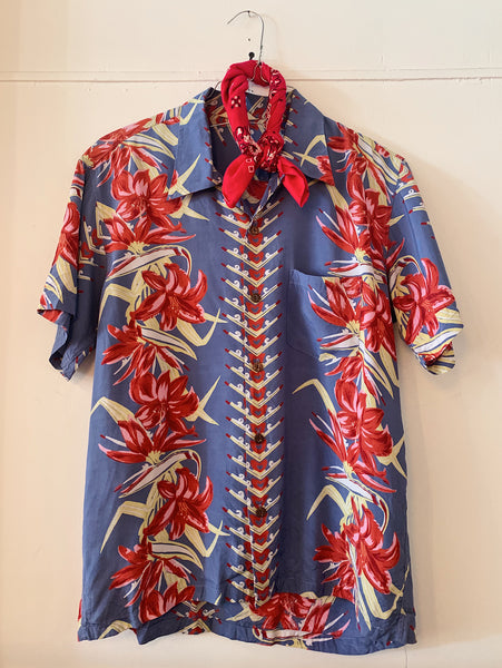 Vintage Purple and Red Floral Hawaiian Shirt