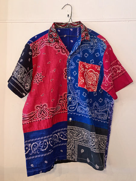 Patchwork Short Sleeve Bandana Shirt - 001