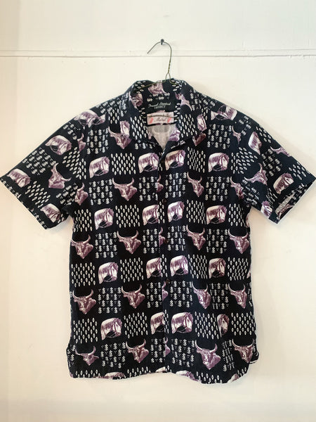 Bull and Horse Print Short Sleeve Shirt