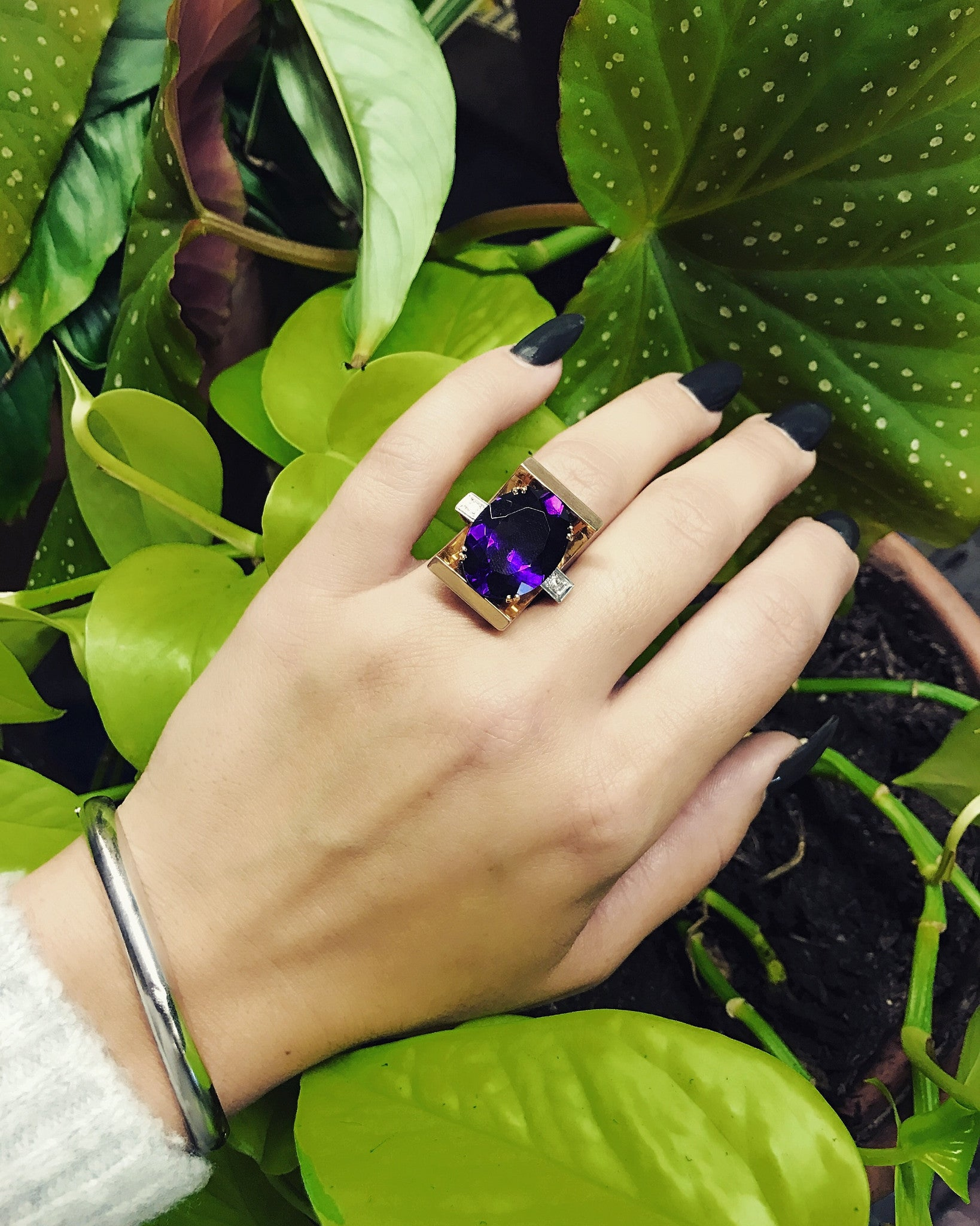 Retro Era Cocktail Ring with African Amethyst