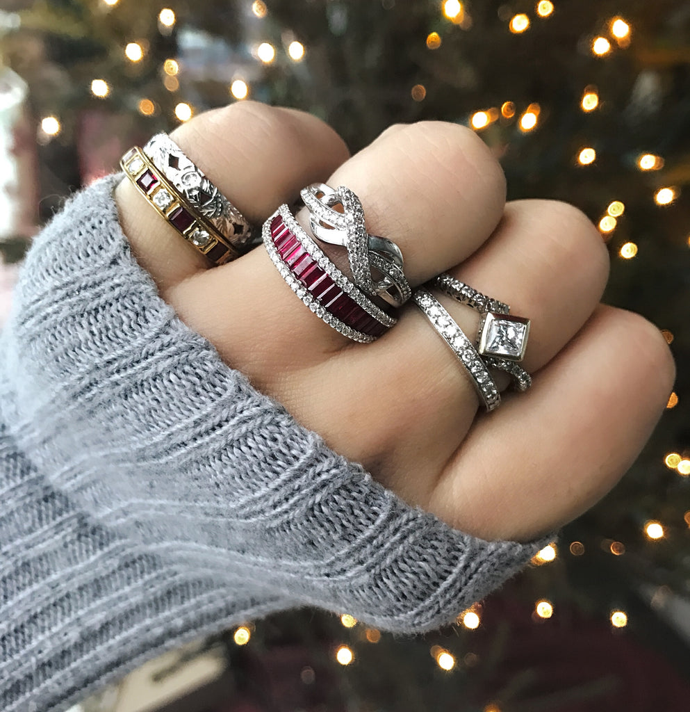 Vintage and Modern Combination Stacking Rings