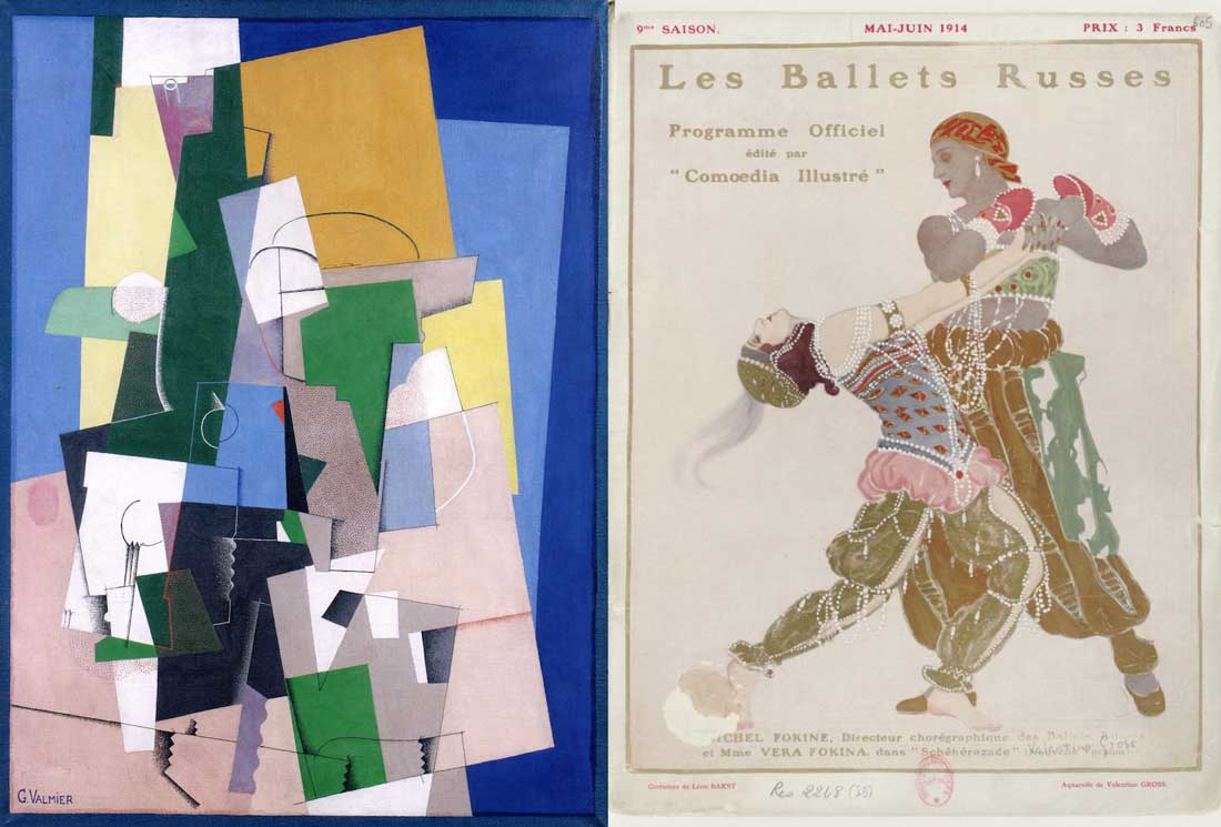 Georges Valmier Cubist painting and Ballets Russes poster
