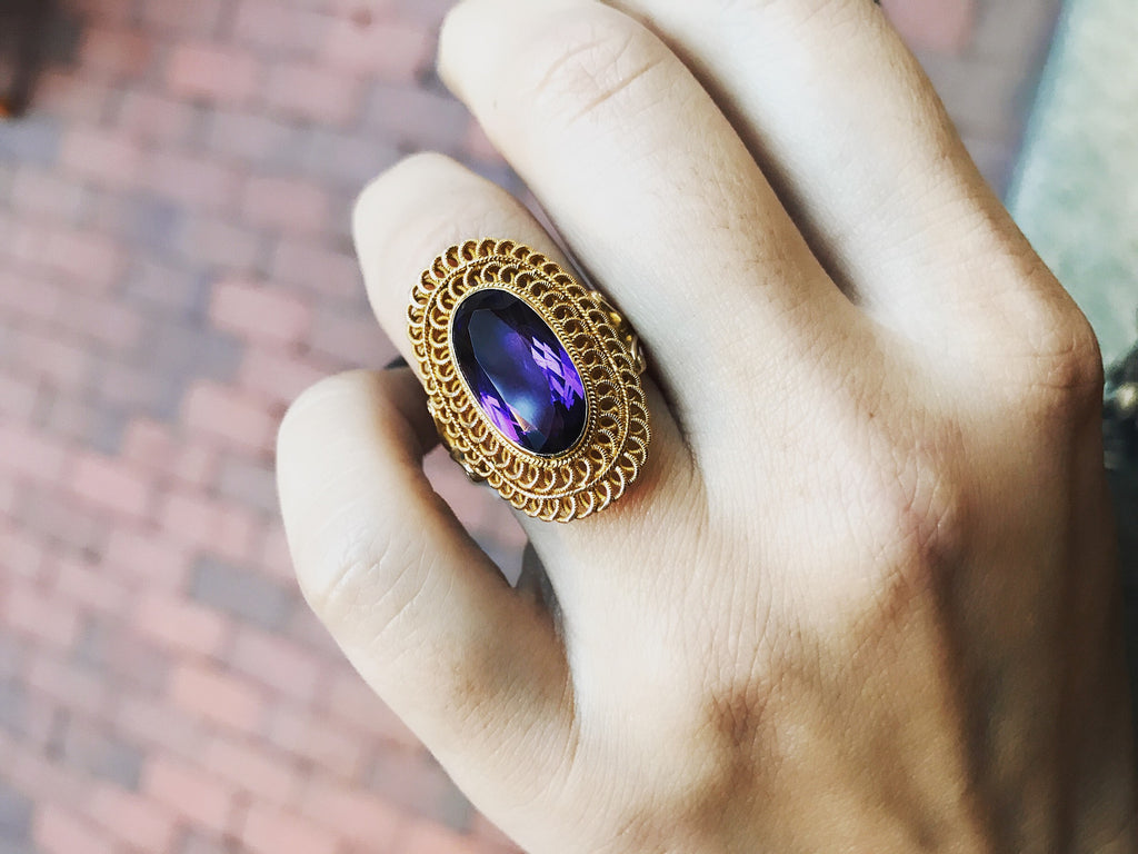High Carat Gold and Amethyst Cocktail Ring