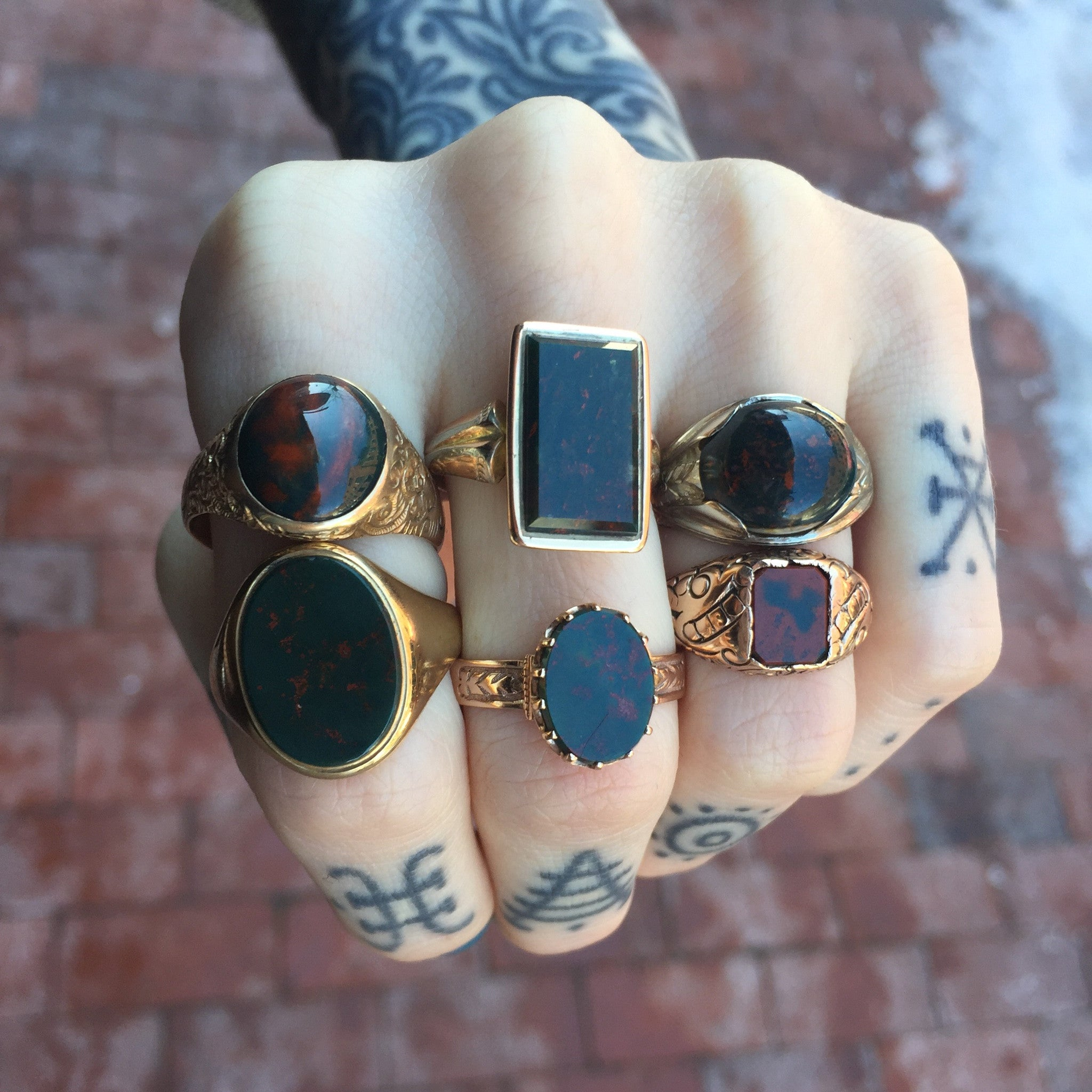 Bloodstone and Gold Rings