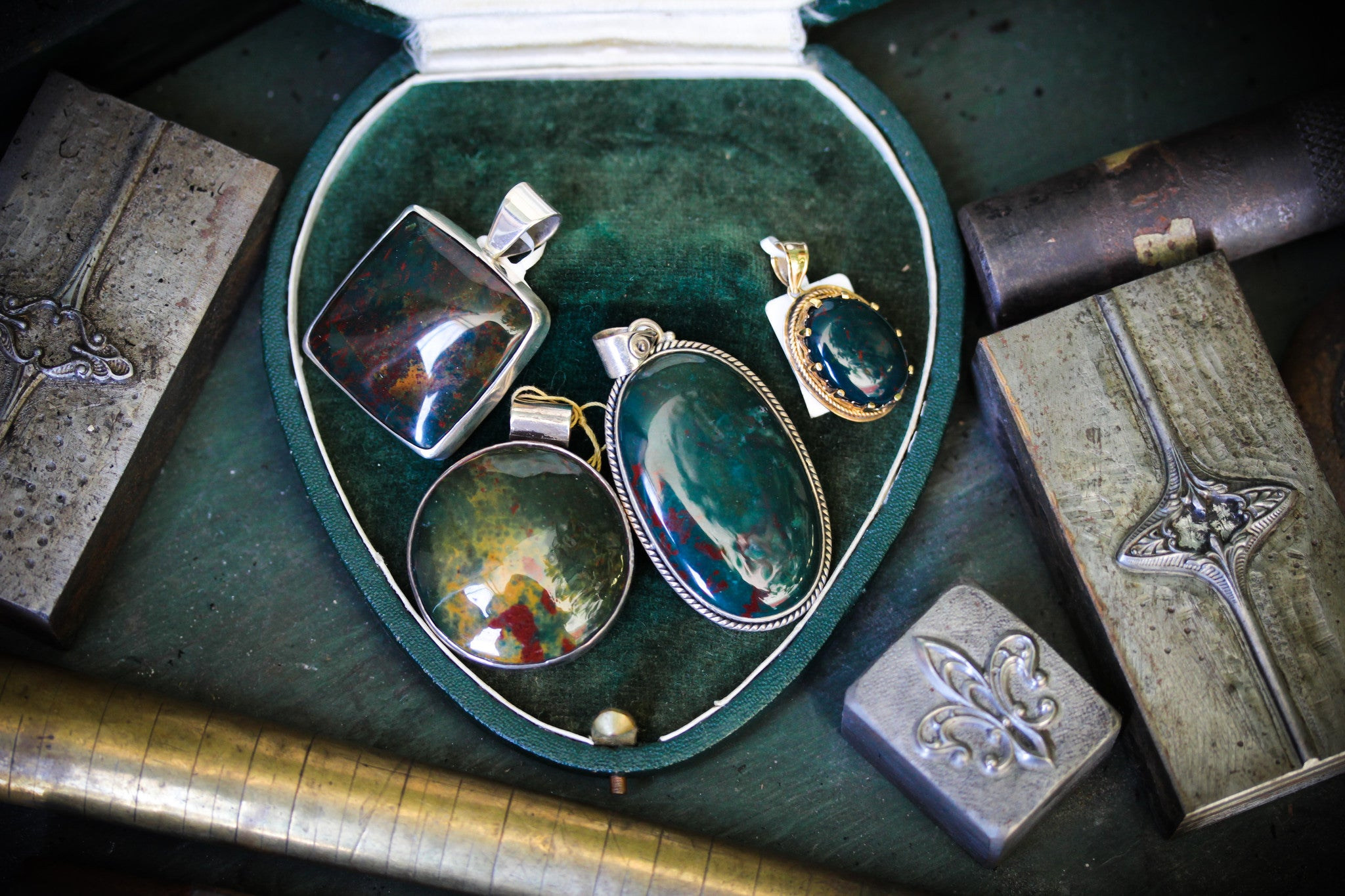 Bloodstone set in Sterling Silver and Gold