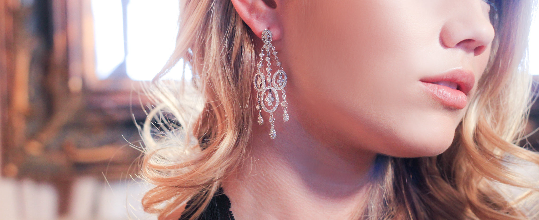 Diamond and White Gold Chandelier Earrings