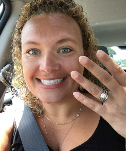 Happy Sharon with her new engagement ring