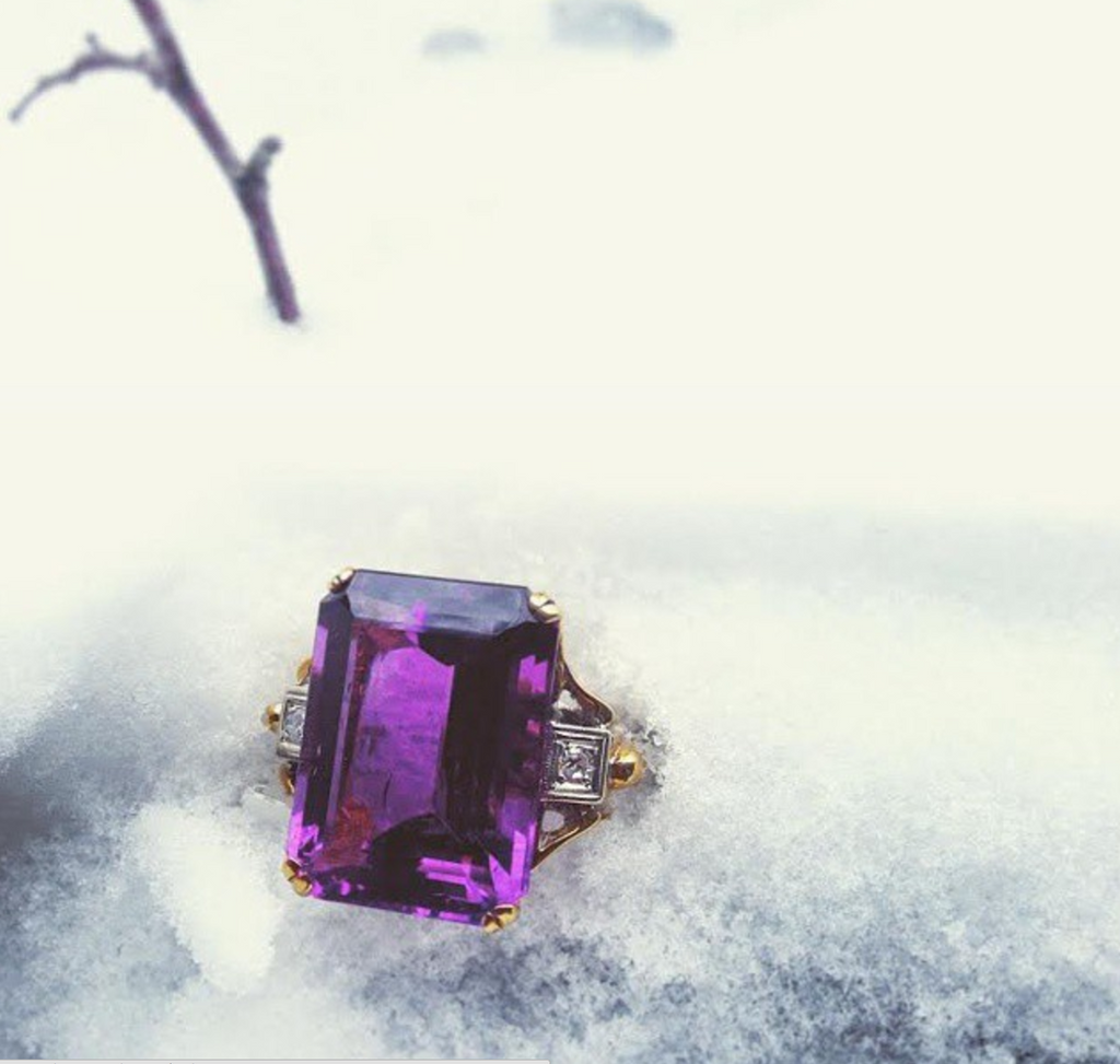 Retro Amethyst Cocktail Ring in the Snow