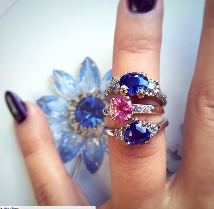 Pink and Blue Ceylon Sapphire Rings