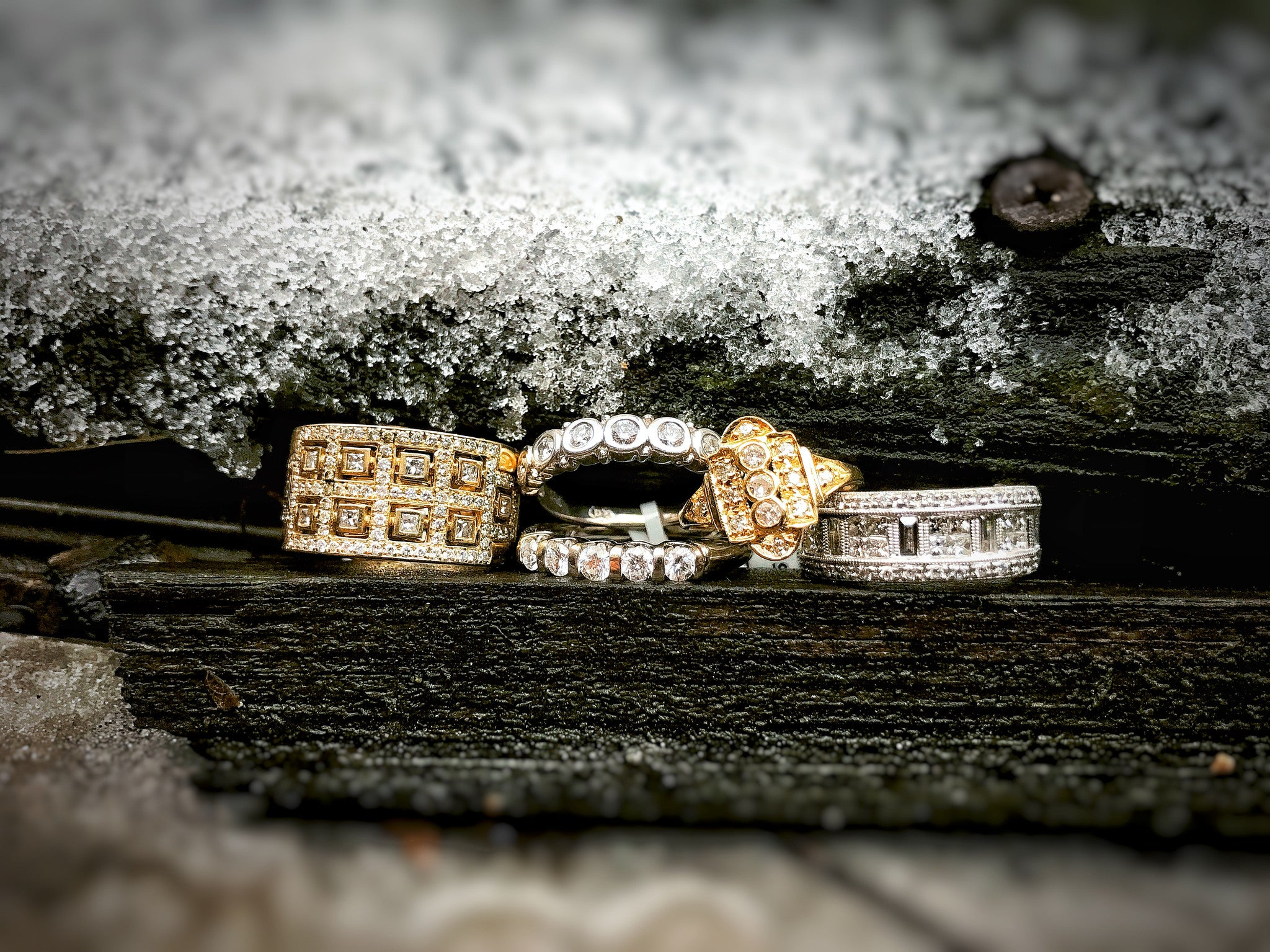 Antique Jewelry Ring Stack in Snow