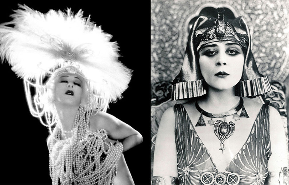 Actresses Alla Nazimova in Salome and Theda Bara in Cleopatra