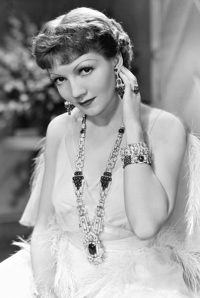 Claudette Colbert in The Gilded Lily 1935, wearing star ruby and diamond jewelry