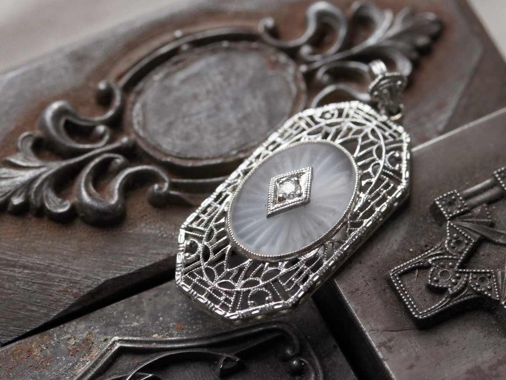 Art Deco filigree camphor glass pendant
