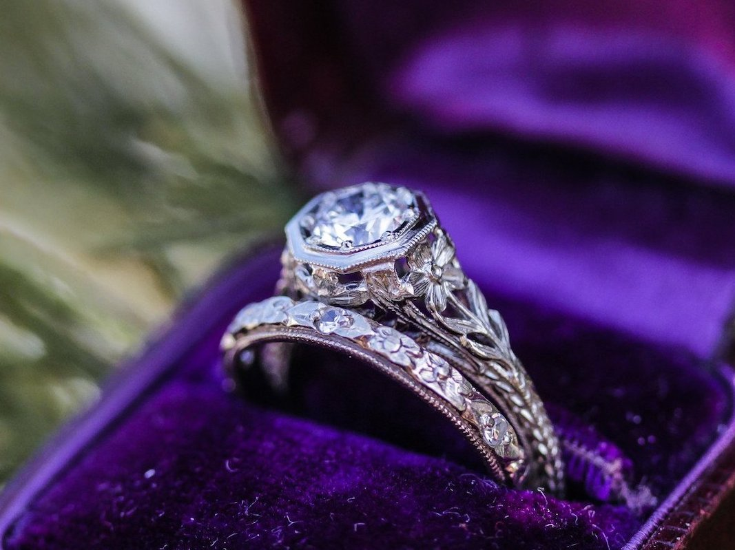 Elizabeth Henry Greenleaf Art Deco engagement ring