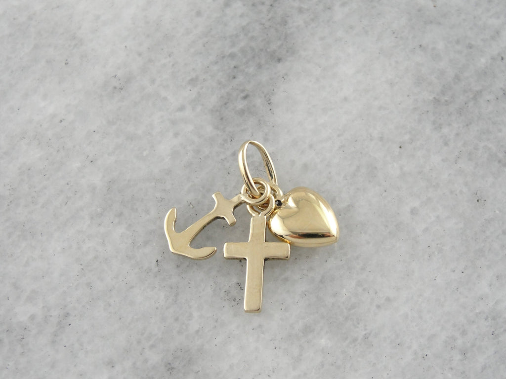 cross anchor heart charm