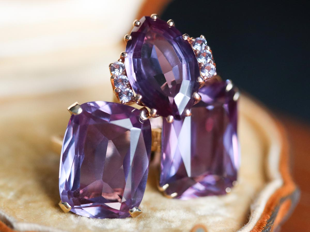 Synthetic alexandrite cocktail rings