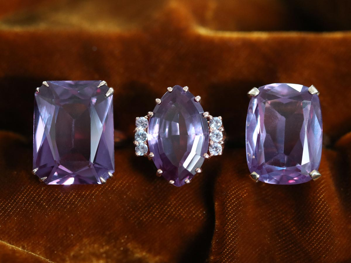 synthetic alexandrite color change to purple