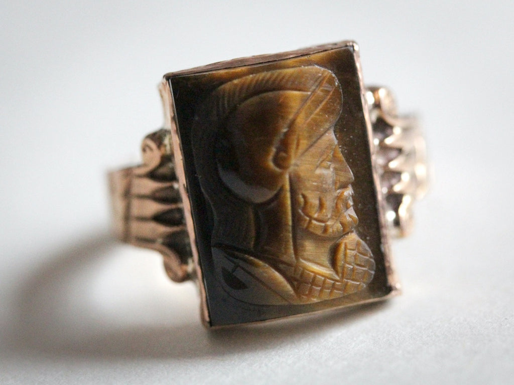Victorian Era tiger's eye cameo ring