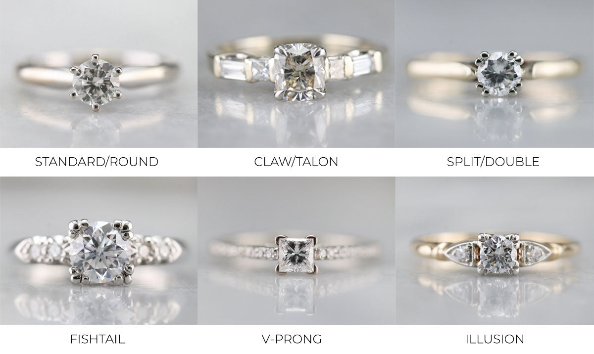 types of prong settings for engagement rings