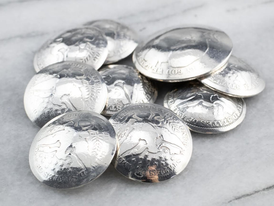 Silver USA Barber Quarter Coin Button Set