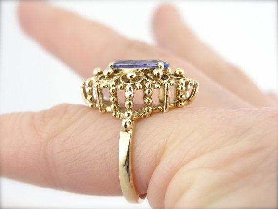 Azure Tanzanite Marquise in Ladies Filigree Cocktail Ring