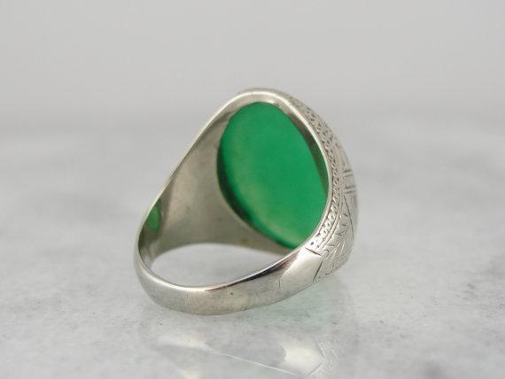 Engraved Art Deco Chrysoprase White Gold Statement Ring