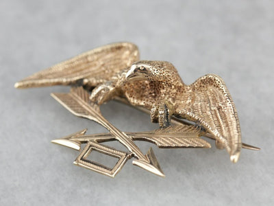 Antique US Military Patriotic Eagle Pin or Fraternal Brooch