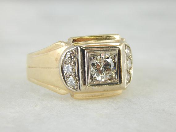 Stately 1950s Two Tone Mens Diamond Ring