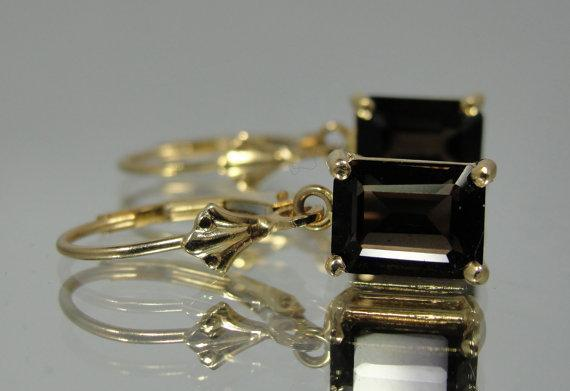 Smoky Quartz in 14k yellow Gold Earrings
