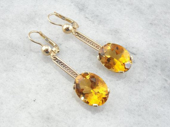 Orange Citrine Drop Earrings