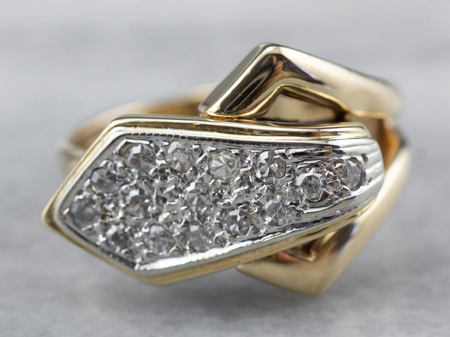 Two Tone Gold Diamond Buckle Ring