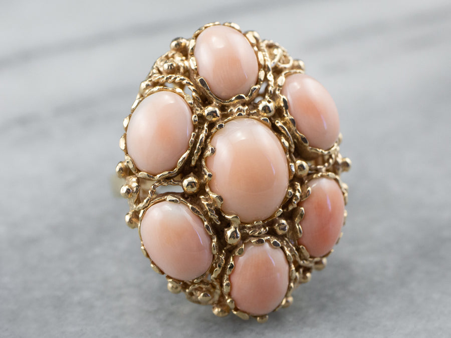 Mid Century Coral Cluster Ring