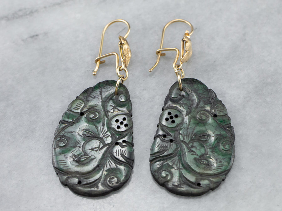 Botanical Carved Jade Gold Drop Earrings