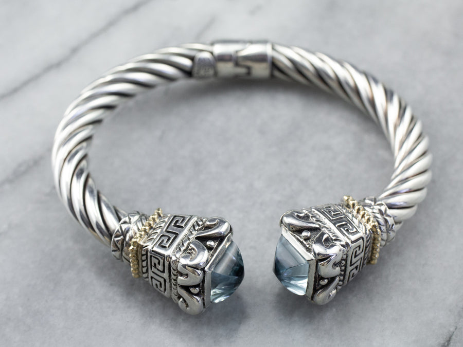 Blue Topaz Sterling Silver Hinged Cuff Bracelet