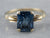 Retro Dark Blue Topaz Gold Solitaire Ring